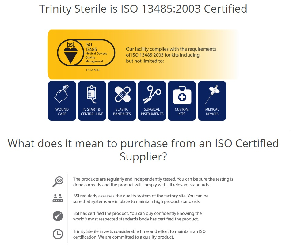 Iso Certification Trinity Sterile Inc